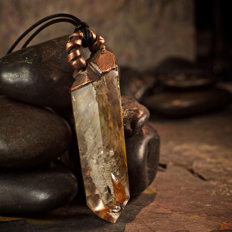 Amphibole Quartz / Angel Phantom Quartz Pendant B by Healing Stones for You