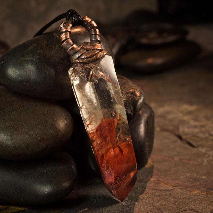 Amphibole Quartz / Angel Phantom Quartz Pendant D by Healing Stones for You