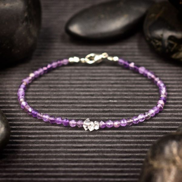 Amethyst and Herkimer Diamond Mini Crystal Bracelet by Healing Stones for You