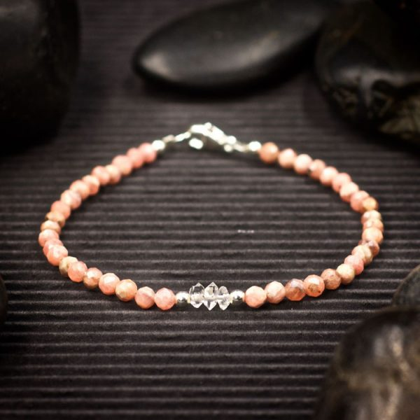 Rhodochrosite and Herkimer Diamond Mini Crystal Bracelet by Healing Stones for You