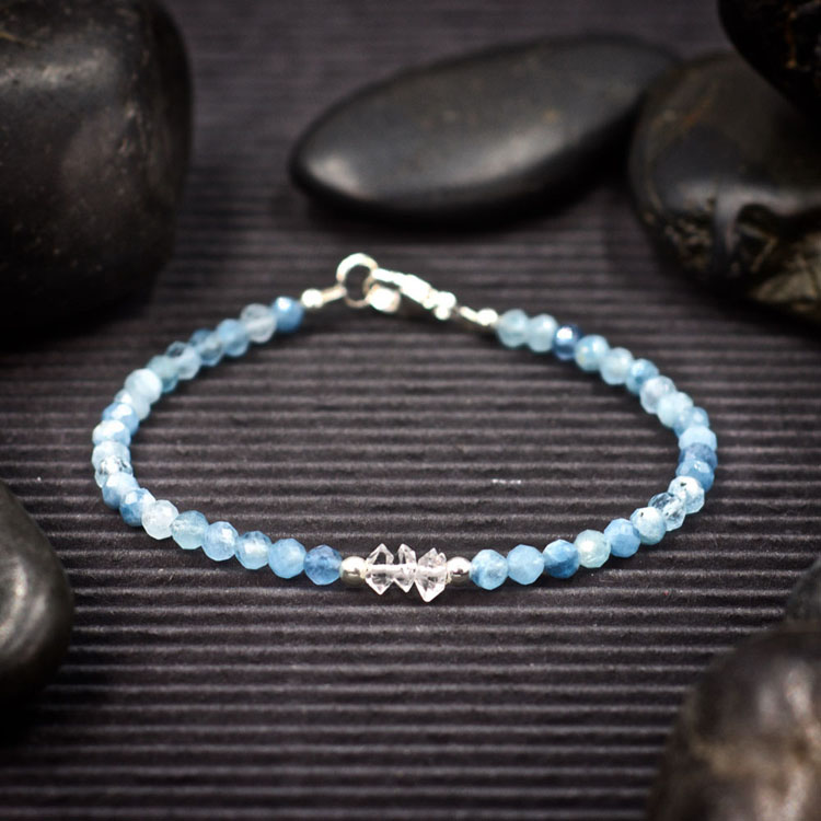 Aquamarine and Herkimer Diamond Mini Crystal Bracelet by Healing Stones for You