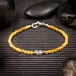 Gold Rutilated Quartz and Herkimer Diamond Mini Crystal Bracelet by Healing Stones for You