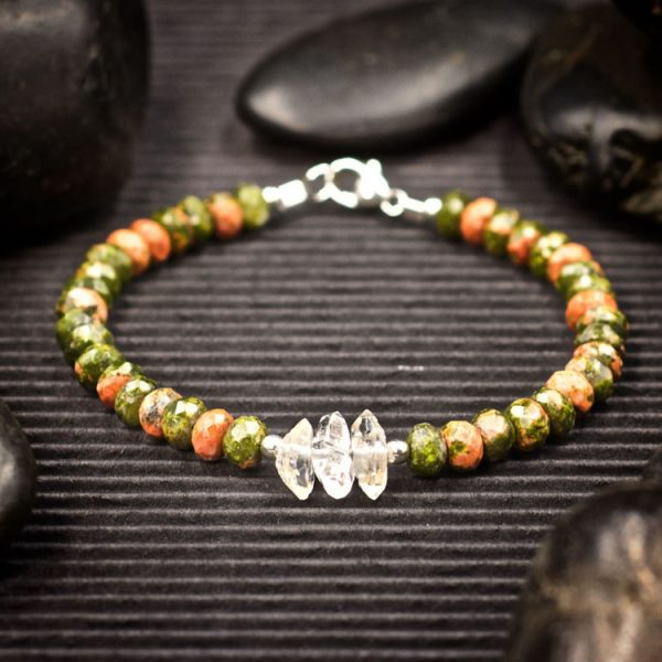 Unakite and Herkimer Diamond Bracelet by Healing Stones for You