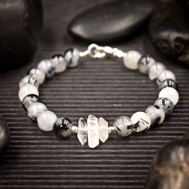 Tourmalinated Quartz and Herkimer Diamond Bracelet by Healing Stones for You