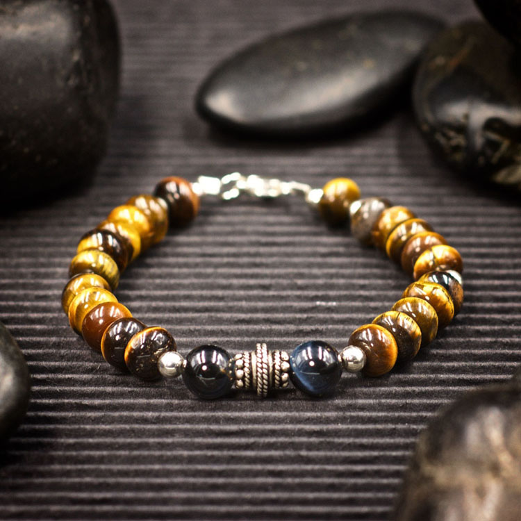 Gold Tiger Eye and Blue Tiger Eye Bracelet by Healing Stones for You