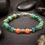 Moss Agate and Fire Agate Bracelet by Healing Stones for You