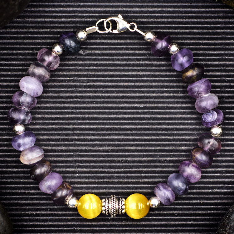 Fluorite and Blonde Tiger Eye Bracelet by Healing Stones for You