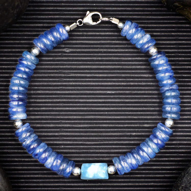 Blue Kyanite and Aquamarine Bracelet by Healing Stones for You