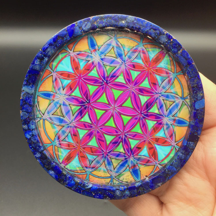 Lapis Lazuli Flower of Life Orgonite® Charging Plate by Healing Stones for You
