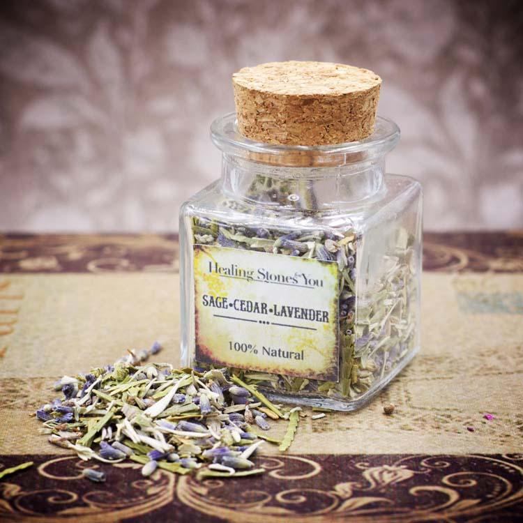 White Sage Cedar and Lavender Mini Herbal Apothecary Jar