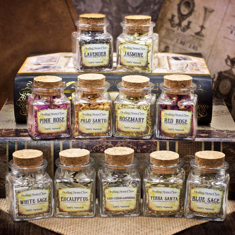Mini Herbal Glass Apothecary Jars by Healing Stones for You
