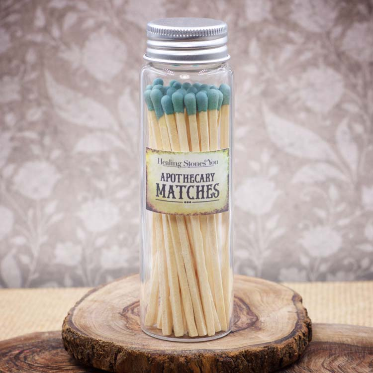 Long Light Blue Apothecary Matches in Glass Jar by Healing Stones for You