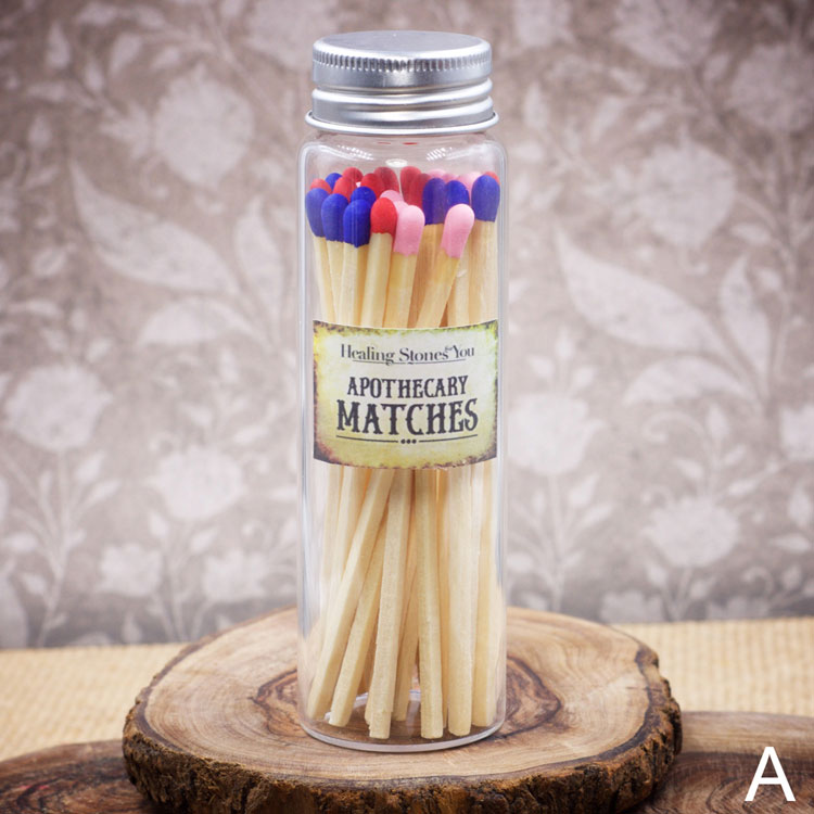 Long Multicolor Apothecary Matches in Glass Jar by Healing Stones for You