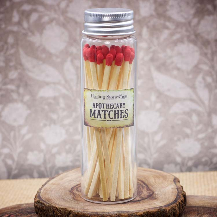 Long Red Apothecary Matches in Glass Jar by Healing Stones for You
