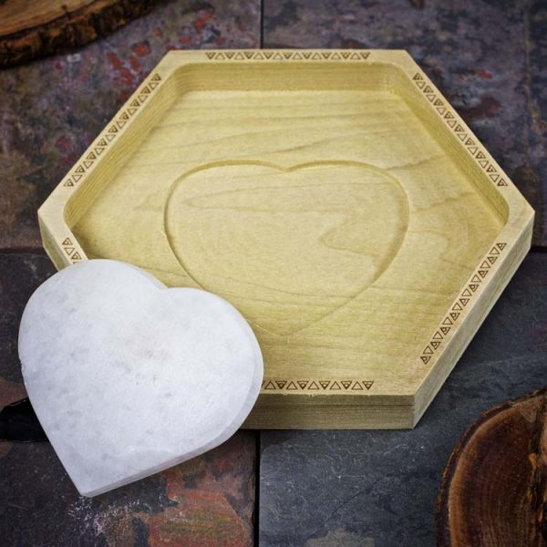 Selenite Heart Crystal Charging Tray by Healing Stones for You