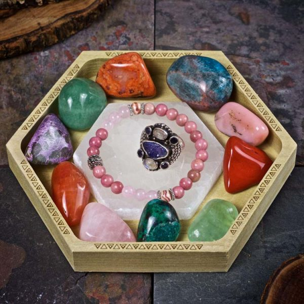 Selenite Hexagon Crystal Charging Tray by Healing Stones for You