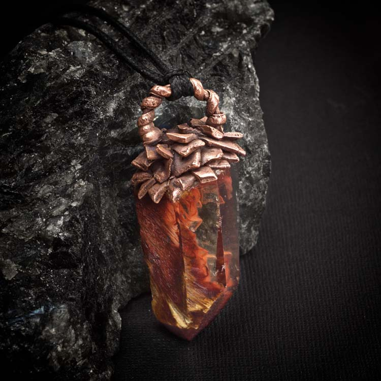 Amphibole Quartz / Angel Phantom Quartz Talisman Pendant B2 by Healing Stones for You