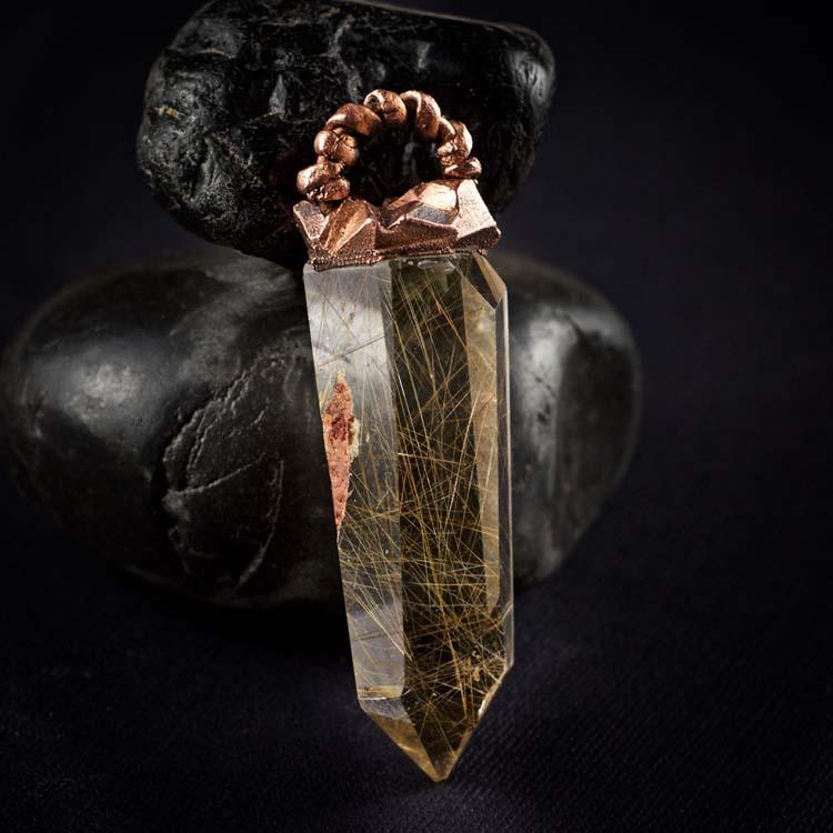 Rutilated Quartz Talisman Pendant A by Healing Stones for You