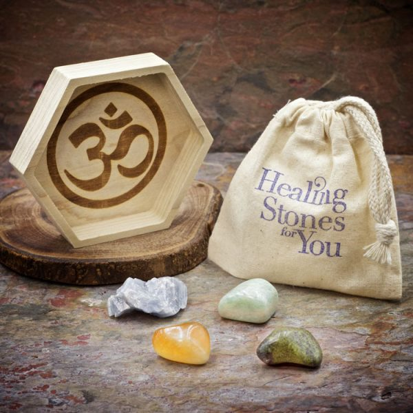 Calm your Nerves Crystal Intention Set with Wood Dish by Healing Stones for You