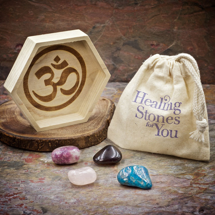 Dissolve Grief Crystal Healing Set with Wood Dish by Healing Stones for You