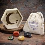 Protection Crystal Intention Set with Wood Dish by Healing Stones for You