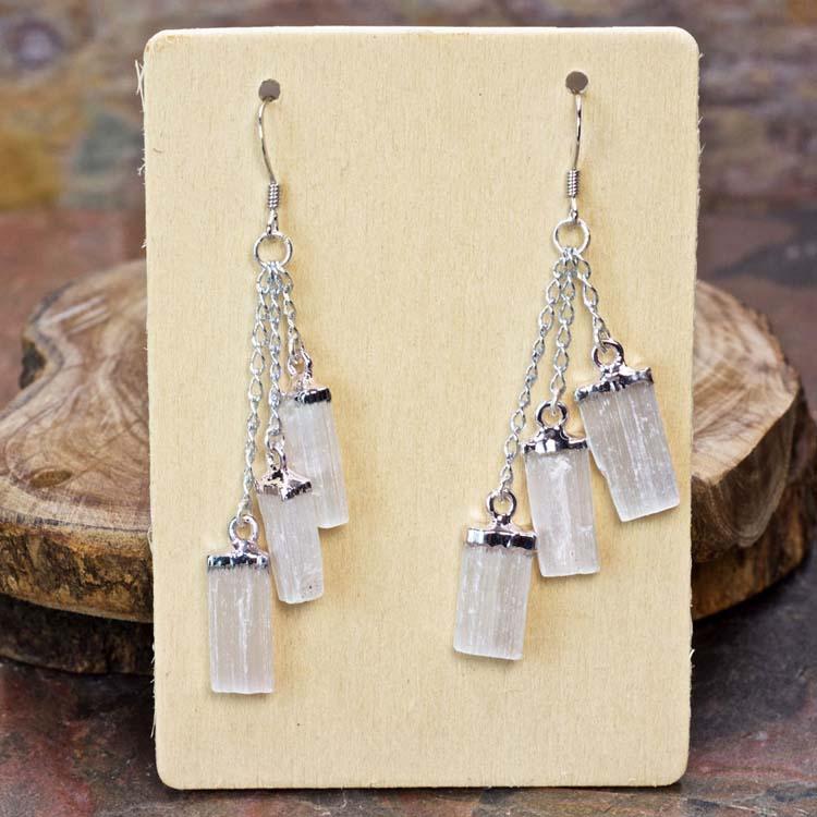 Selenite Triple Dangle Earrings