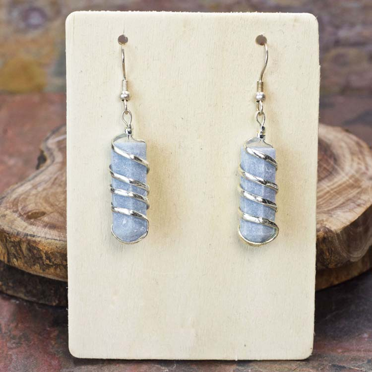 Angelite Point Coil Wrapped Earrings
