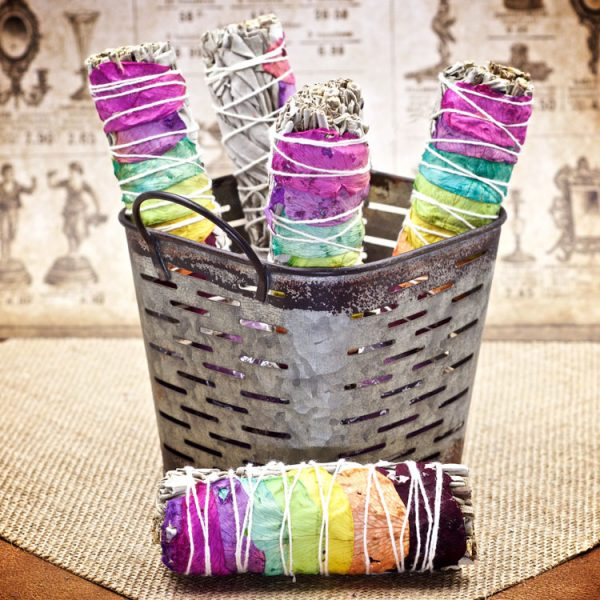 7 Chakra White Sage and Rainbow Roses Smudge Stick