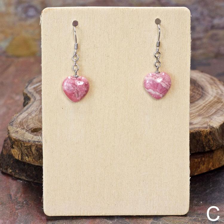 Rhodochrosite Heart Earrings by Healing Stones for You