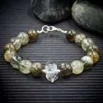 Green Tourmaline Rutile Quartz and Herkimer Diamond Bracelet by Healing Stones for You