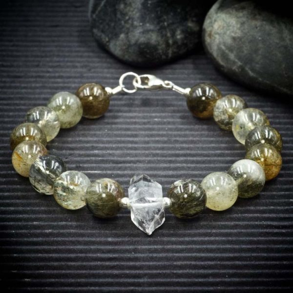 Green Tourmaline Rutile Quartz and Herkimer Diamond Bracelet by Healing Stones for You