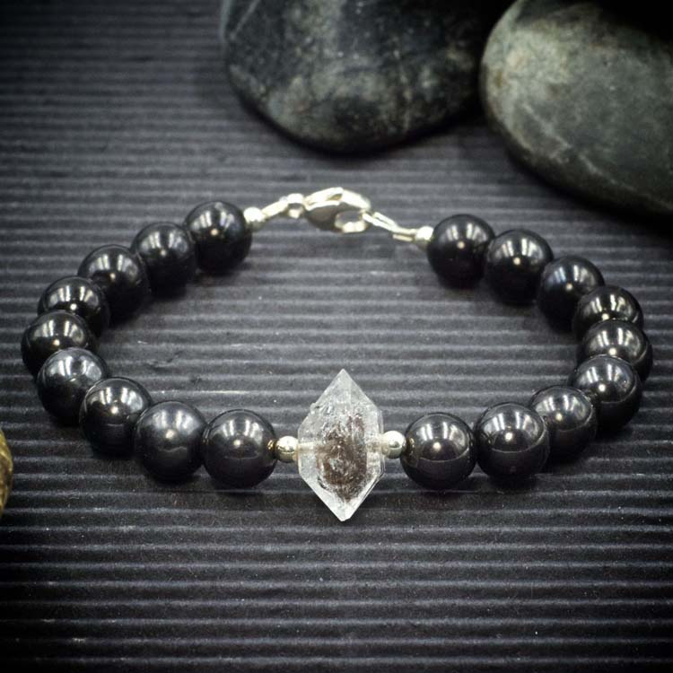 Shungite and Herkimer Diamond Bracelet by Healing Stones for You