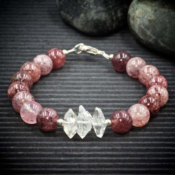 Strawberry Quartz and Herkimer Diamond Bracelet by Healing Stones for You