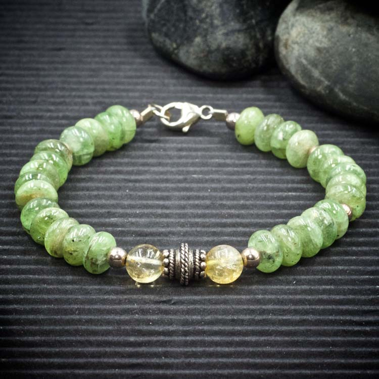 Green Kyanite and Citrine Bracelet by Healing Stones for You