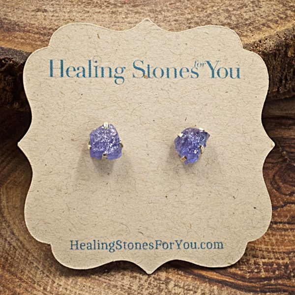 Tanzanite Raw Crystal Stud Earrings