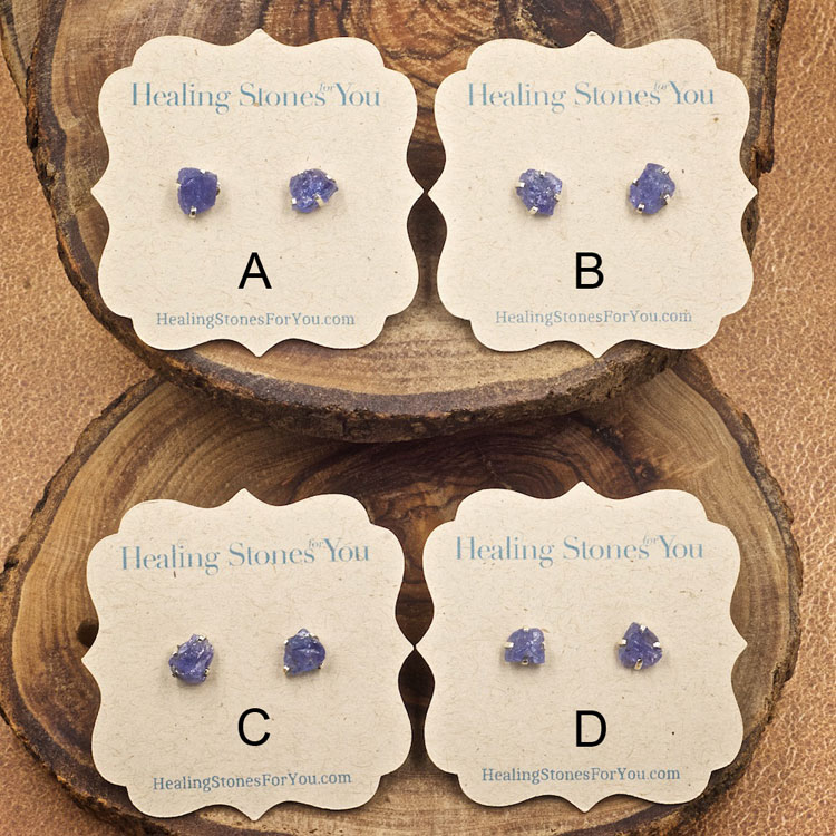 Tanzanite Raw Crystal Stud Earrings