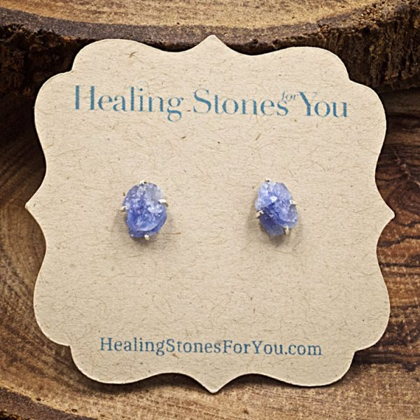 Blue Sapphire Raw Crystal Stud Earrings