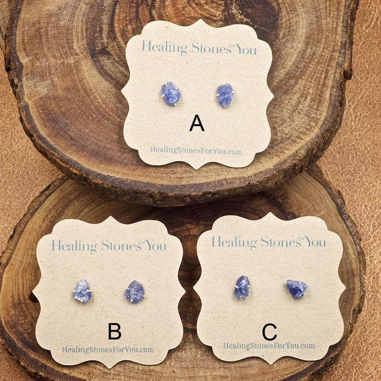 Blue Sapphire Raw Crystal Stud Earrings
