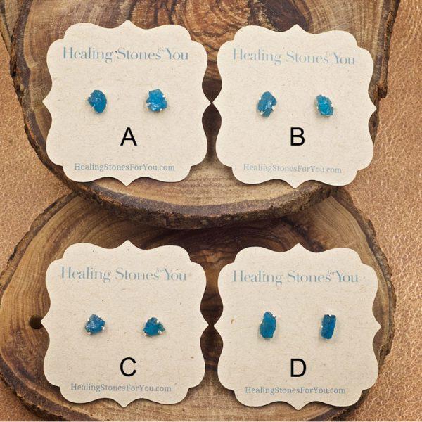 Apatite Raw Crystal Stud Earrings