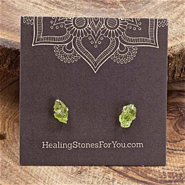Peridot Raw Crystal Stud Earrings