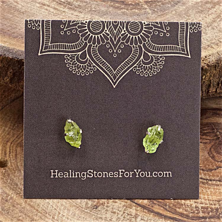 Peridot Raw Crystal Stud Earrings