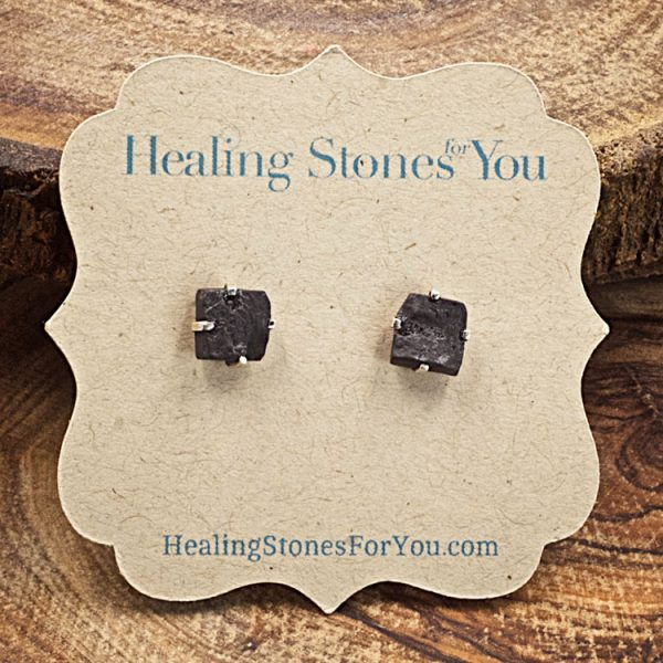 Shungite Rough Crystal Stud Earrings