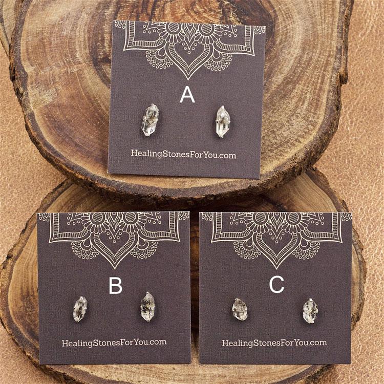 Herkimer Diamond Raw Crystal Stud Earrings