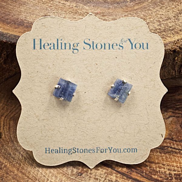 Blue Kyanite Raw Crystal Stud Earrings