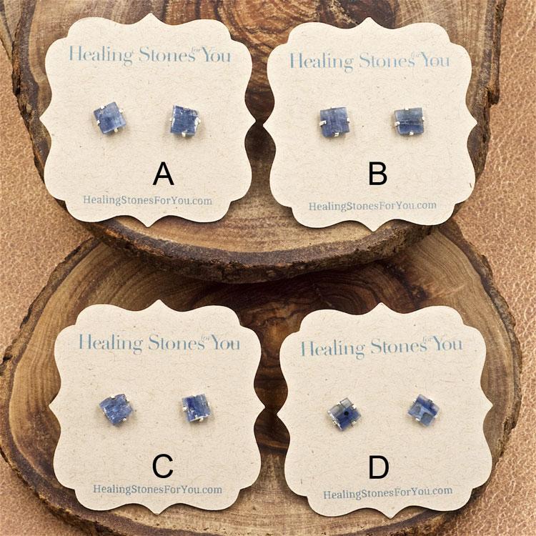 Blue Kyanite Raw Crystal Stud Earrings