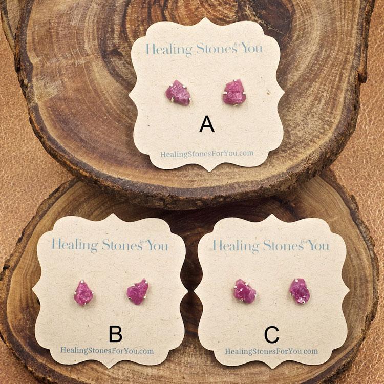 Ruby Raw Crystal Stud Earrings
