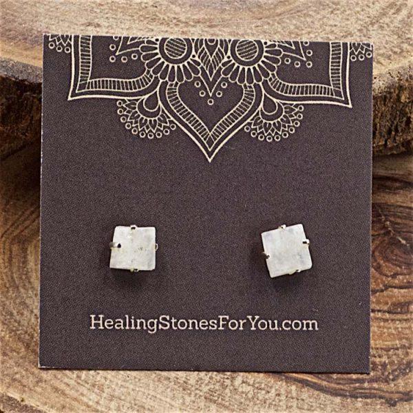 Rainbow Moonstone Rough Crystal Stud Earrings