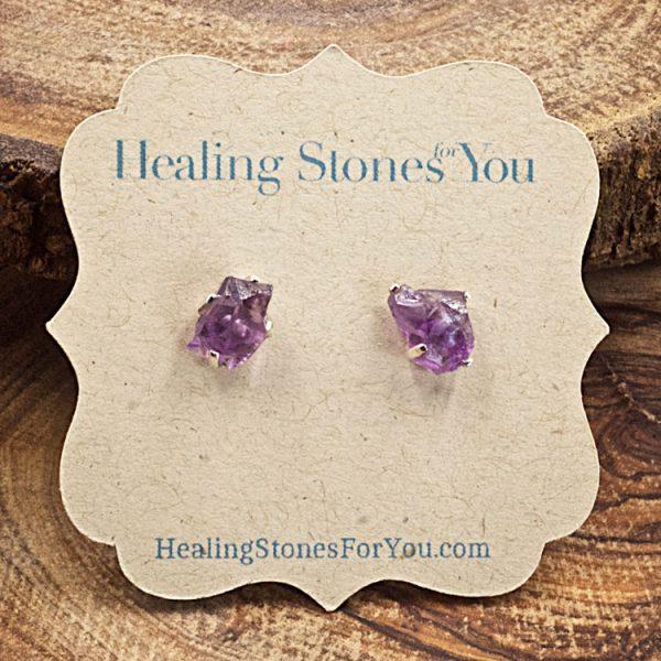 Amethyst Raw Crystal Stud Earrings