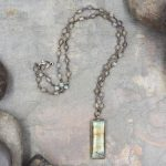 Labradorite Necklace with Beaded Rosary Chain