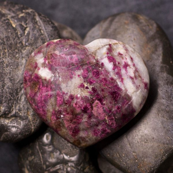 Pink Tourmaline in Quartz Hearts